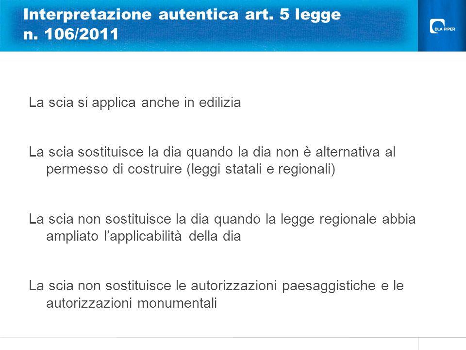 Interpretazione autentica art. 5 legge n. 106/2011
