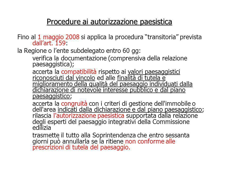 Procedure ai autorizzazione paesistica