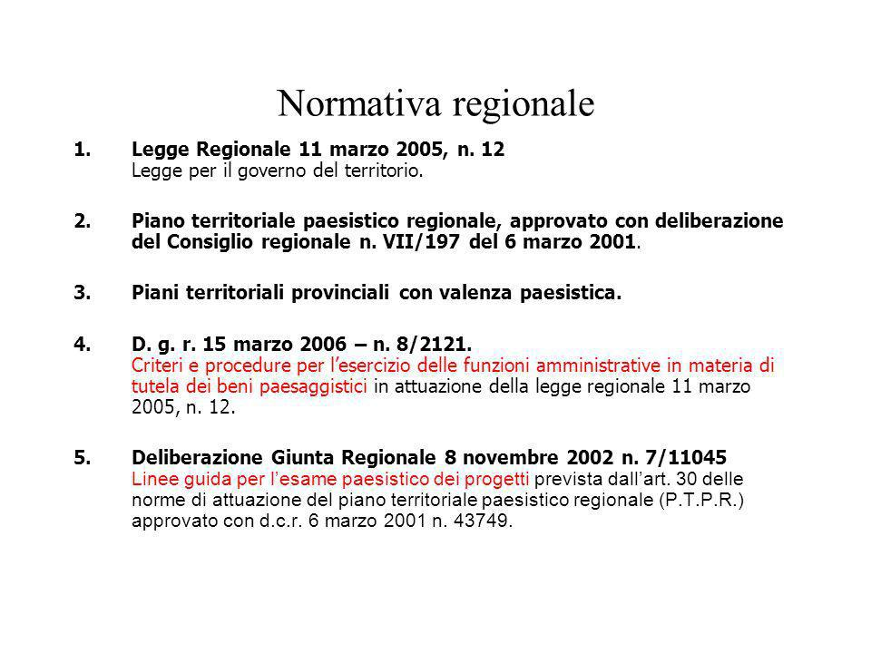 Normativa regionale 1. Legge Regionale 11 marzo 2005, n. 12 Legge per il governo del territorio.
