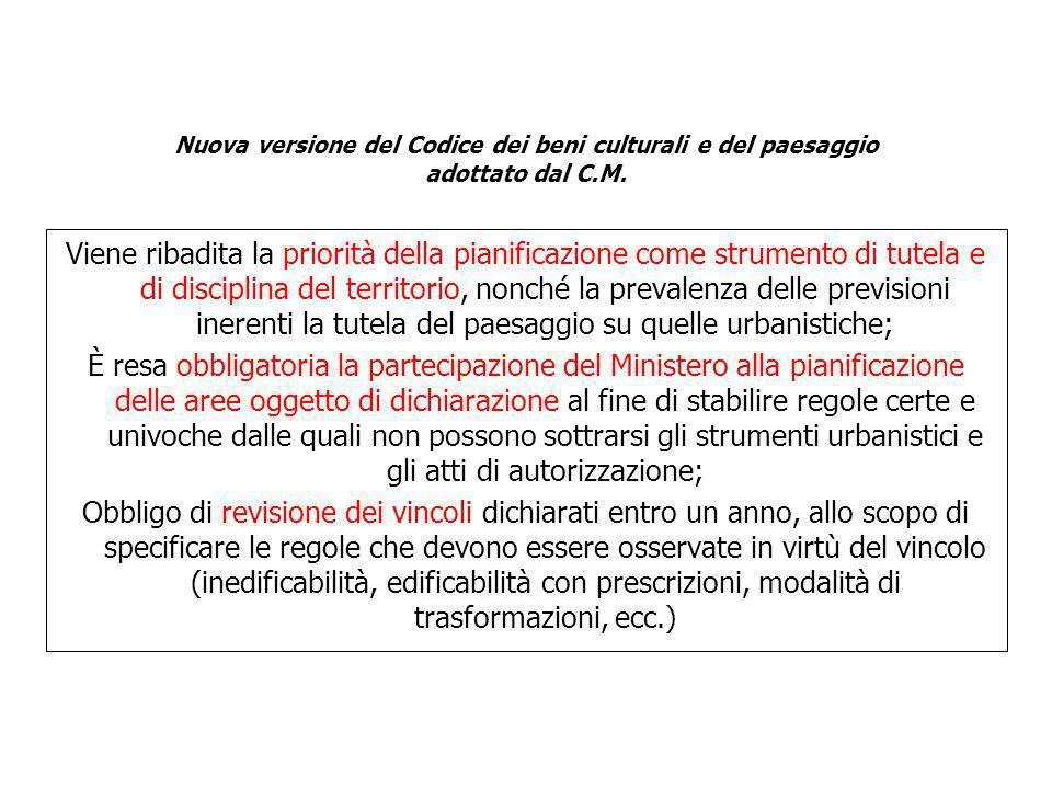 Nuova versione del Codice dei beni culturali e del paesaggio adottato dal C.M.