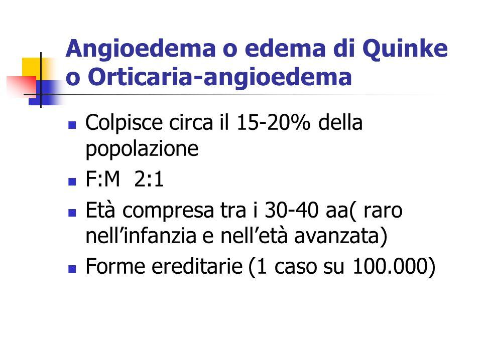 Angioedema o edema di Quinke o Orticaria-angioedema
