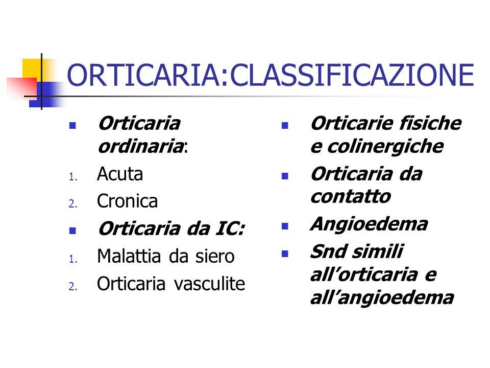 ORTICARIA:CLASSIFICAZIONE