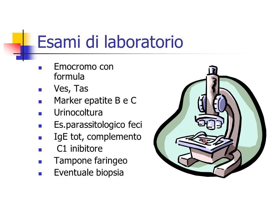 Esami di laboratorio Emocromo con formula Ves, Tas