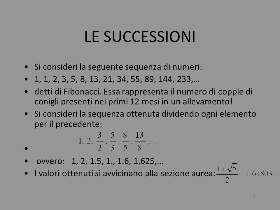 LE SUCCESSIONI Si consideri la seguente sequenza di numeri: