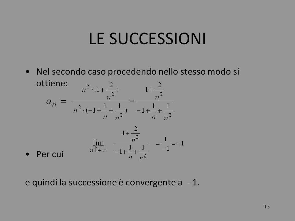 LE SUCCESSIONI Nel secondo caso procedendo nello stesso modo si ottiene: Per cui.