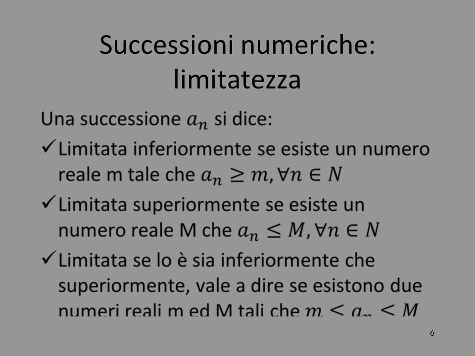 Successioni numeriche: limitatezza