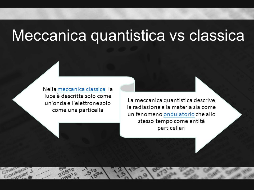 Meccanica quantistica vs classica