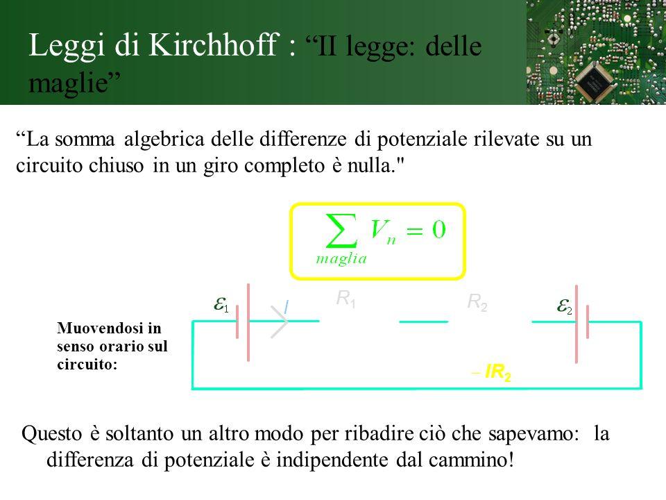 Leggi di Kirchhoff : II legge: delle maglie
