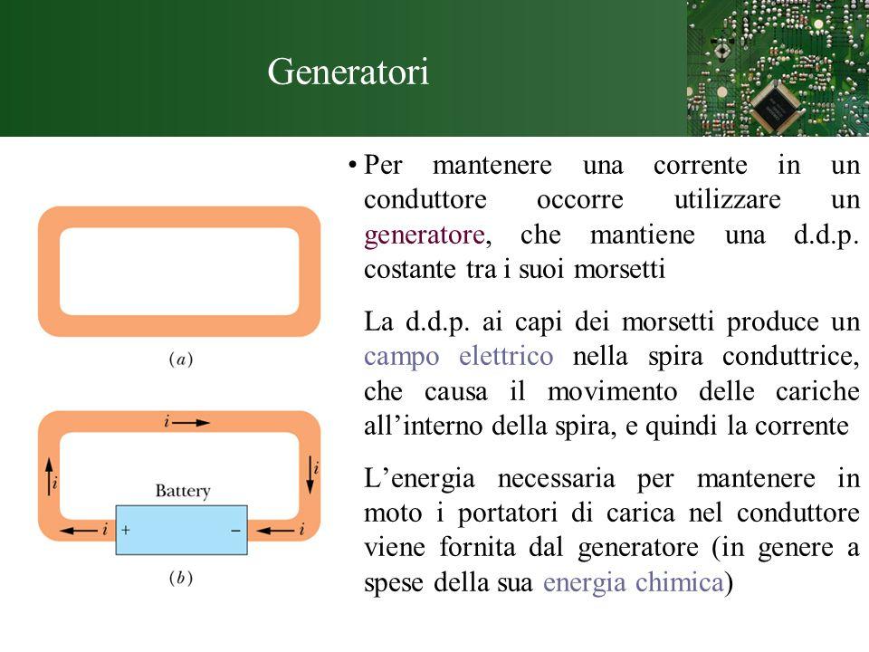 GeneratoriPer mantenere una corrente in un conduttore occorre utilizzare un generatore, che mantiene una d.d.p. costante tra i suoi morsetti.