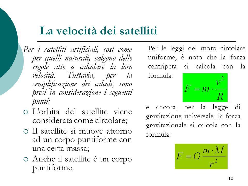 La velocità dei satelliti