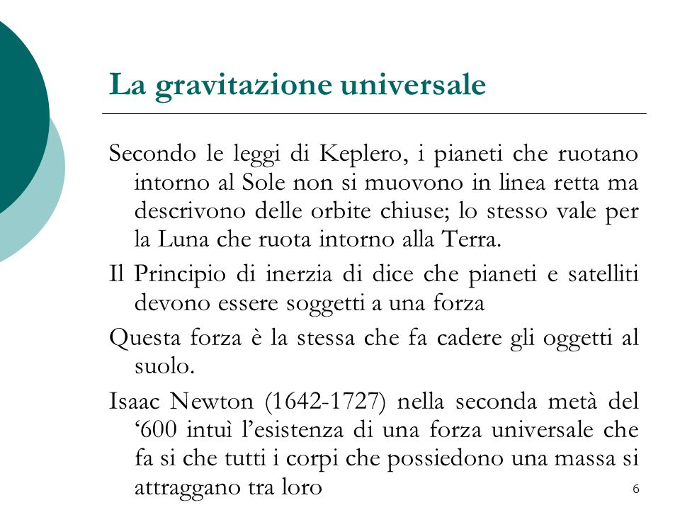 La gravitazione universale