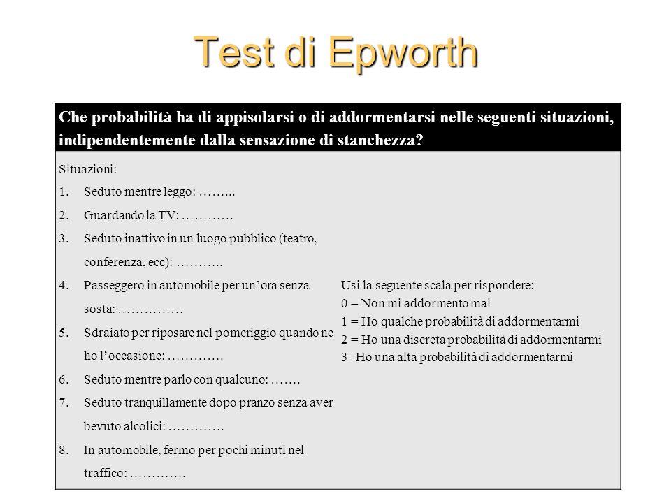 Test di Epworth Che probabilità ha di appisolarsi o di addormentarsi nelle seguenti situazioni, indipendentemente dalla sensazione di stanchezza