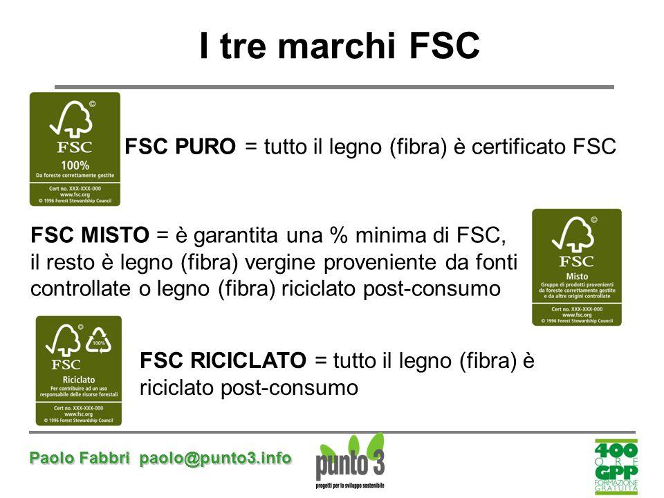 I tre marchi FSC FSC PURO = tutto il legno (fibra) è certificato FSC