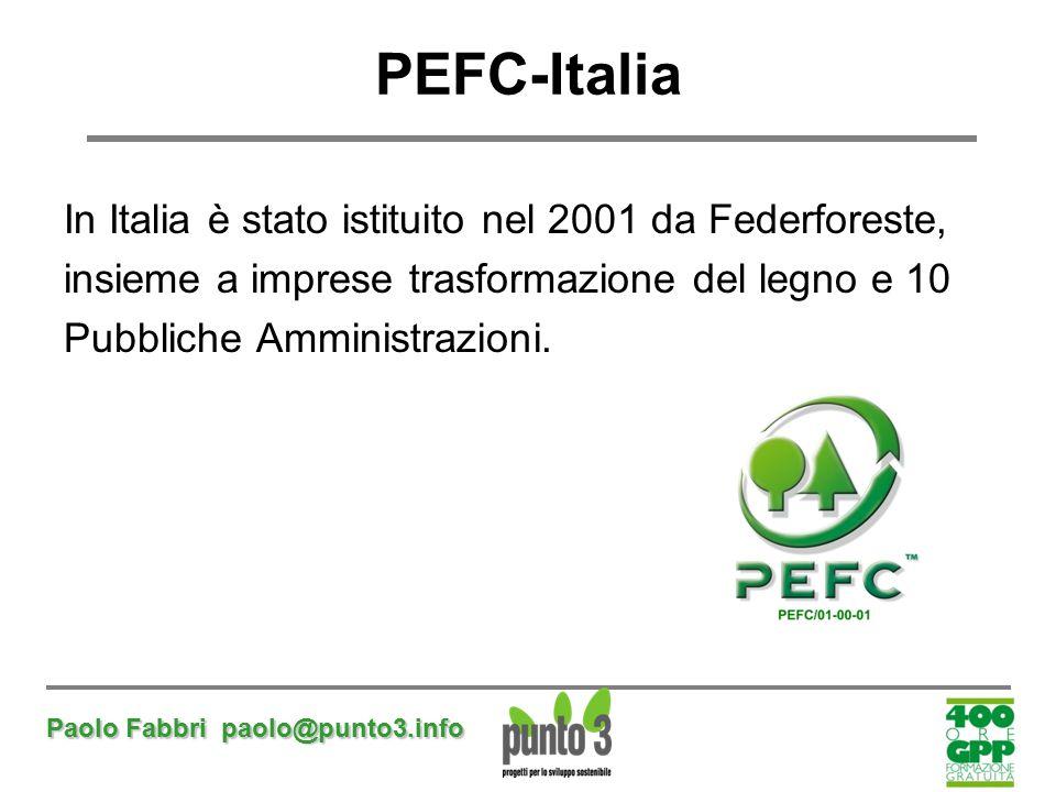 PEFC-Italia In Italia è stato istituito nel 2001 da Federforeste,