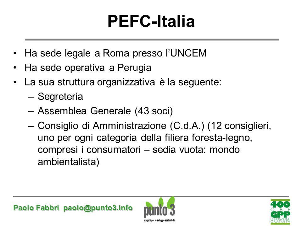 PEFC-Italia Ha sede legale a Roma presso l'UNCEM