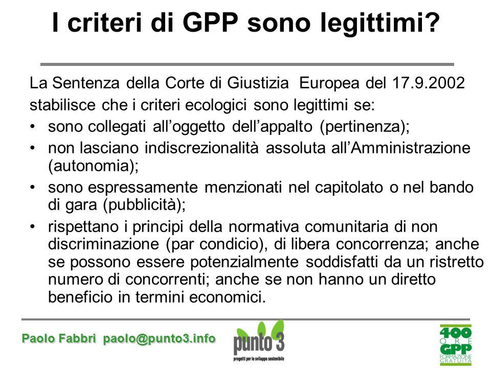 I criteri di GPP sono legittimi