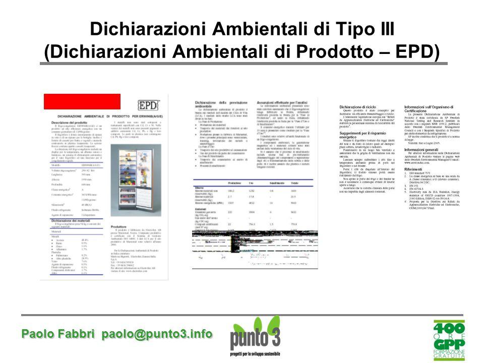 Dichiarazioni Ambientali di Tipo III (Dichiarazioni Ambientali di Prodotto – EPD)