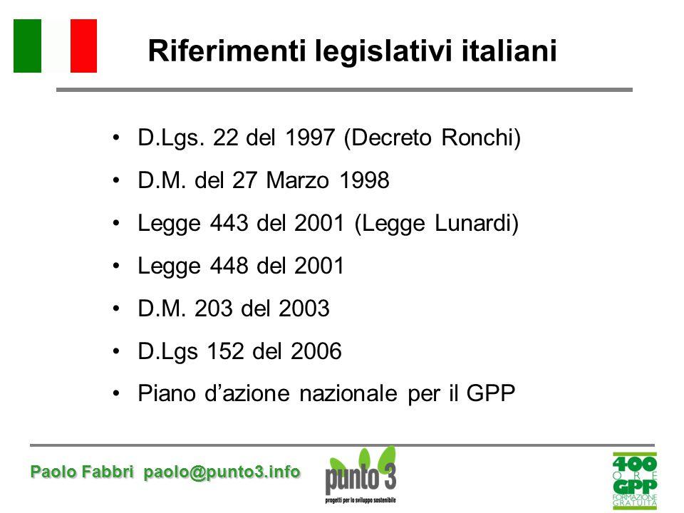Riferimenti legislativi italiani