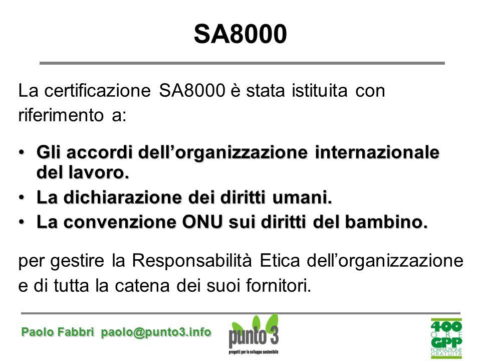 SA8000 La certificazione SA8000 è stata istituita con riferimento a: