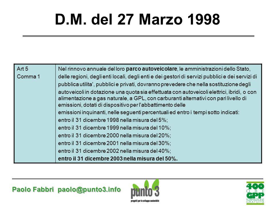 D.M. del 27 Marzo 1998 Paolo Fabbri paolo@punto3.info Art 5 Comma 1