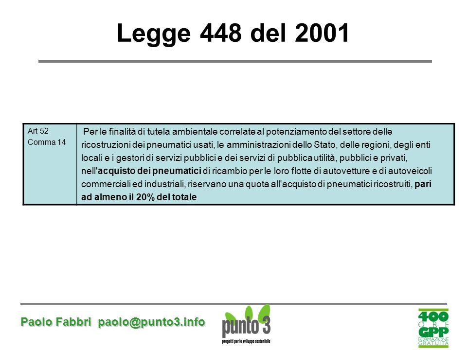 Legge 448 del 2001 Paolo Fabbri paolo@punto3.info