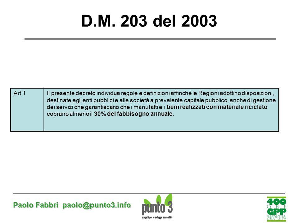 D.M. 203 del 2003 Paolo Fabbri paolo@punto3.info Art 1