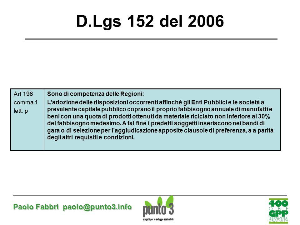 D.Lgs 152 del 2006 Paolo Fabbri paolo@punto3.info Art 196 comma 1
