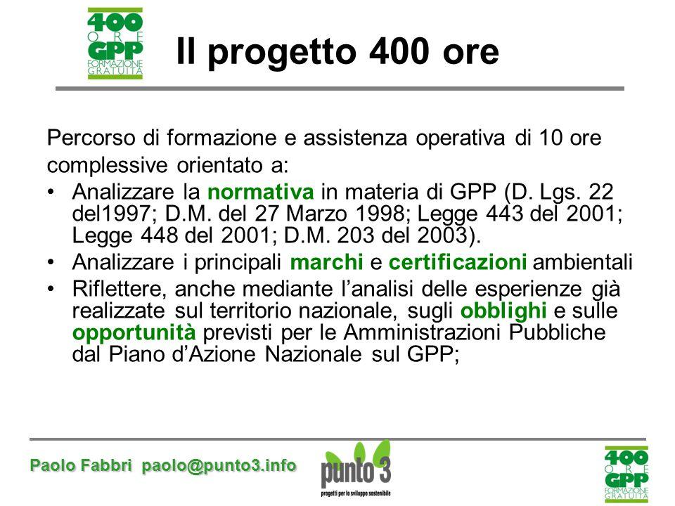 Il progetto 400 ore Percorso di formazione e assistenza operativa di 10 ore. complessive orientato a: