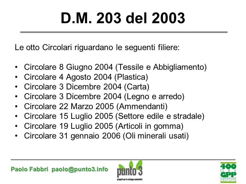 D.M. 203 del 2003 Le otto Circolari riguardano le seguenti filiere:
