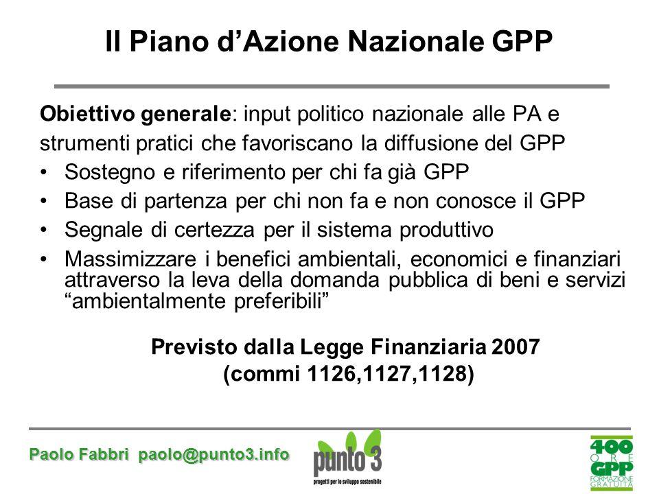 Il Piano d'Azione Nazionale GPP