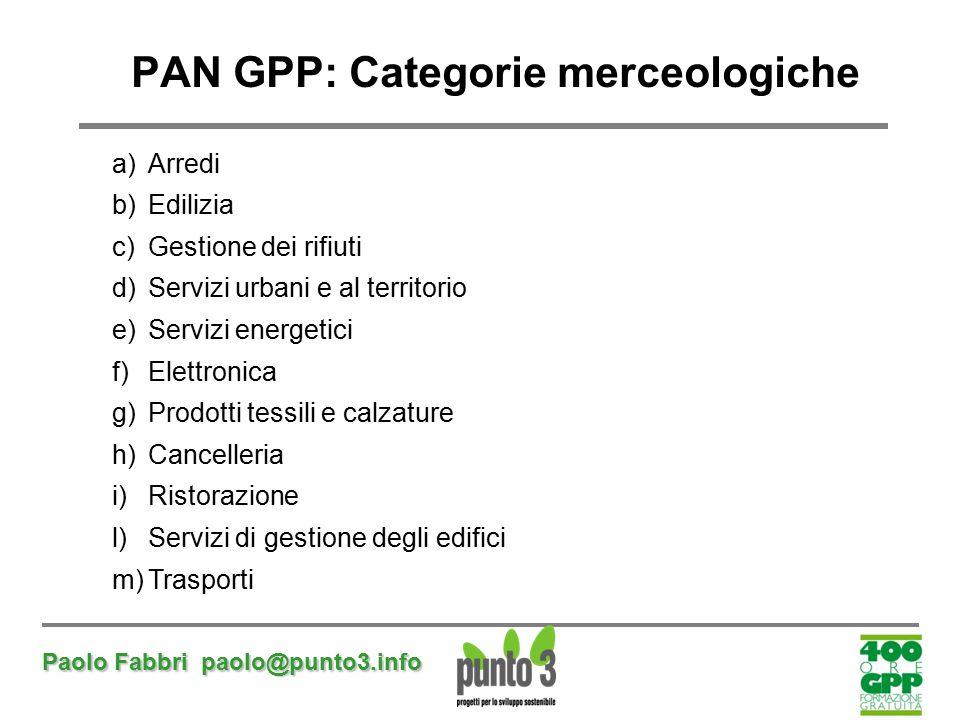 PAN GPP: Categorie merceologiche