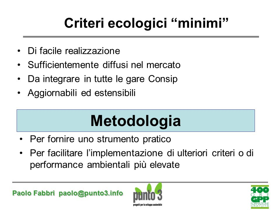 Criteri ecologici minimi
