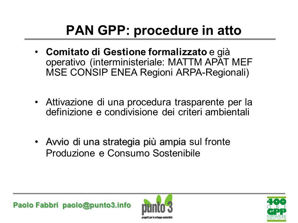 PAN GPP: procedure in atto