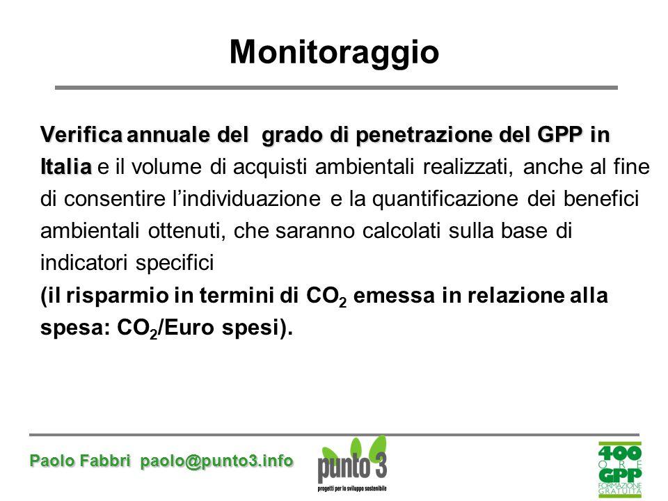 Monitoraggio Verifica annuale del grado di penetrazione del GPP in