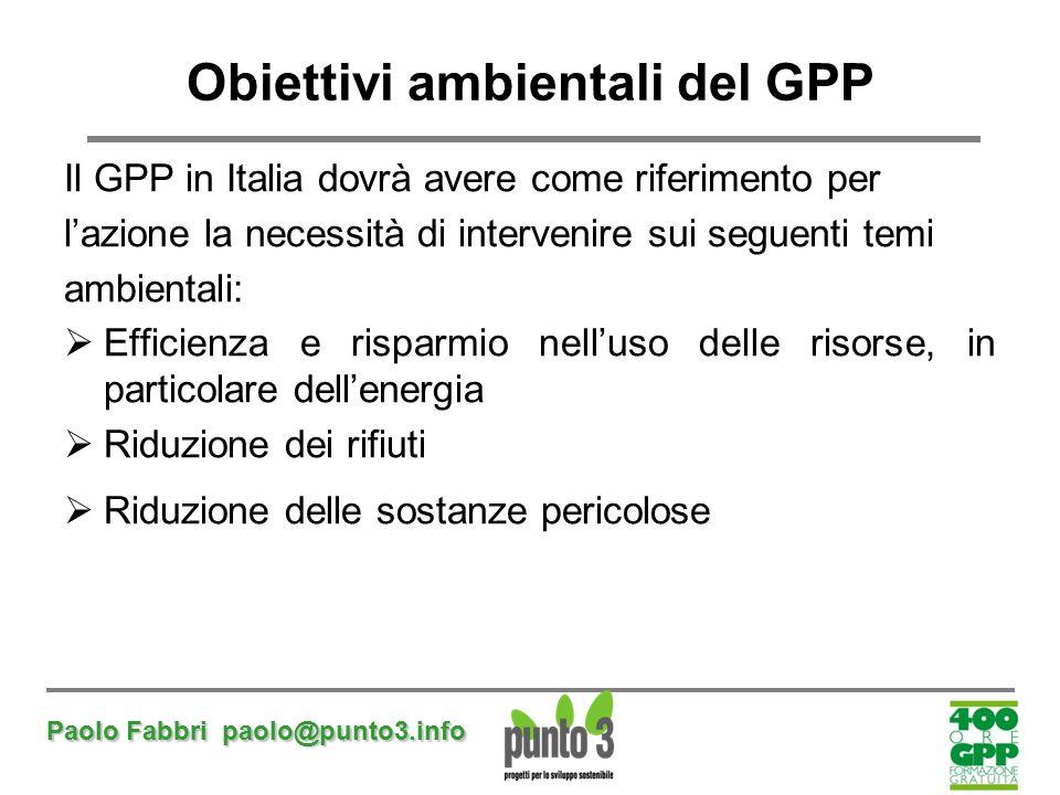 Obiettivi ambientali del GPP