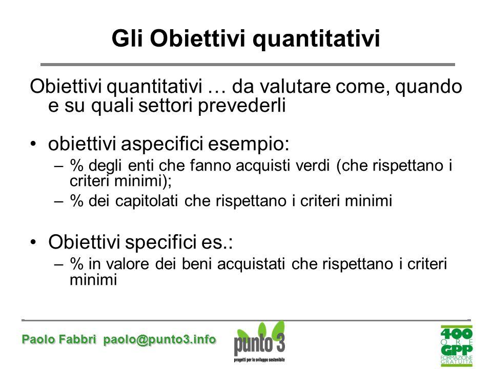 Gli Obiettivi quantitativi