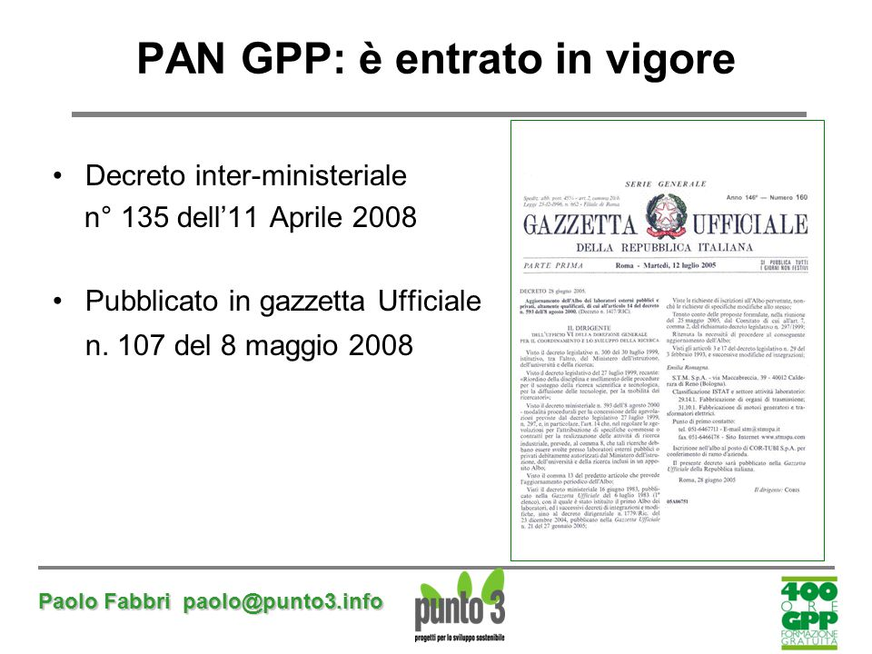 PAN GPP: è entrato in vigore