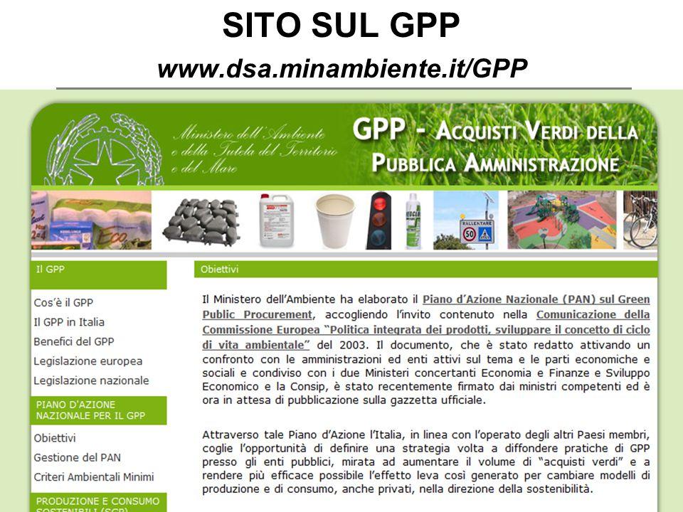 SITO SUL GPP www.dsa.minambiente.it/GPP