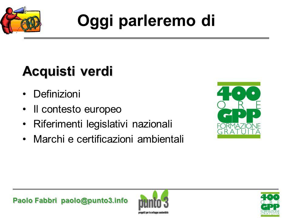 Oggi parleremo di Acquisti verdi Definizioni Il contesto europeo