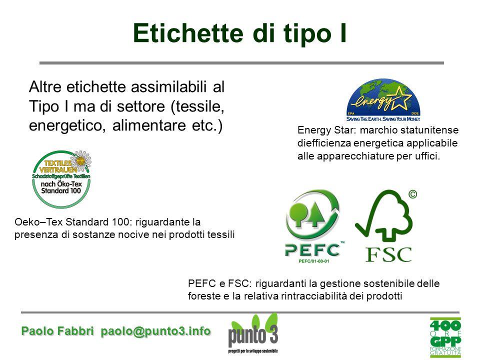 Etichette di tipo I Altre etichette assimilabili al Tipo I ma di settore (tessile, energetico, alimentare etc.)