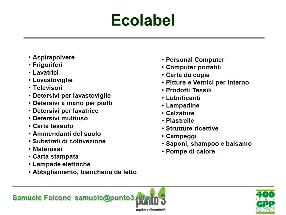 Ecolabel Samuele Falcone samuele@punto3.info Aspirapolvere Frigoriferi
