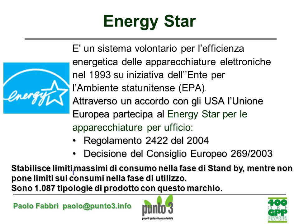 Energy Star E un sistema volontario per l'efficienza