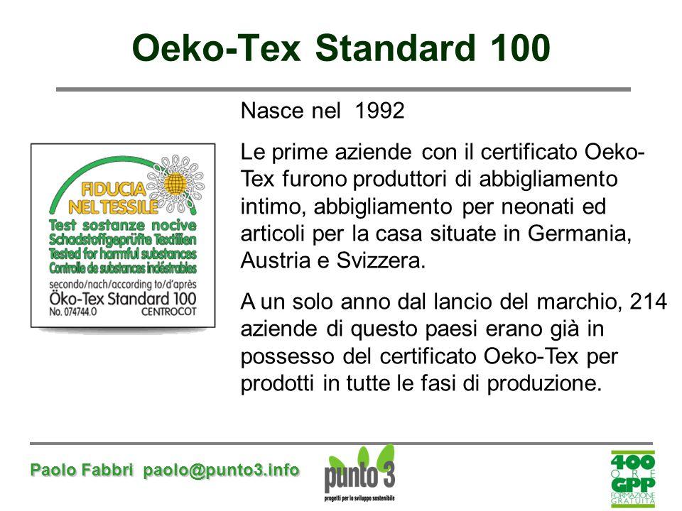 Oeko-Tex Standard 100 Nasce nel 1992