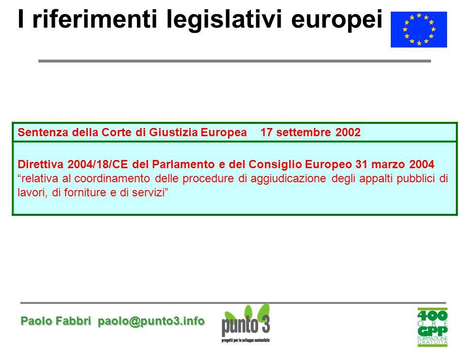 I riferimenti legislativi europei