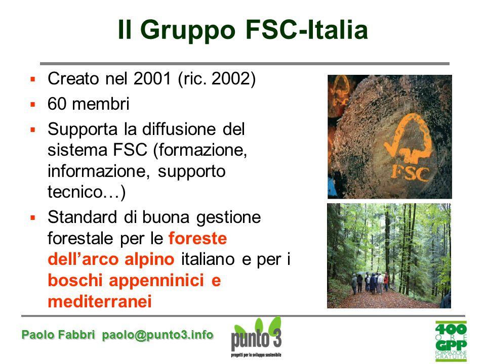 Il Gruppo FSC-Italia Creato nel 2001 (ric. 2002) 60 membri