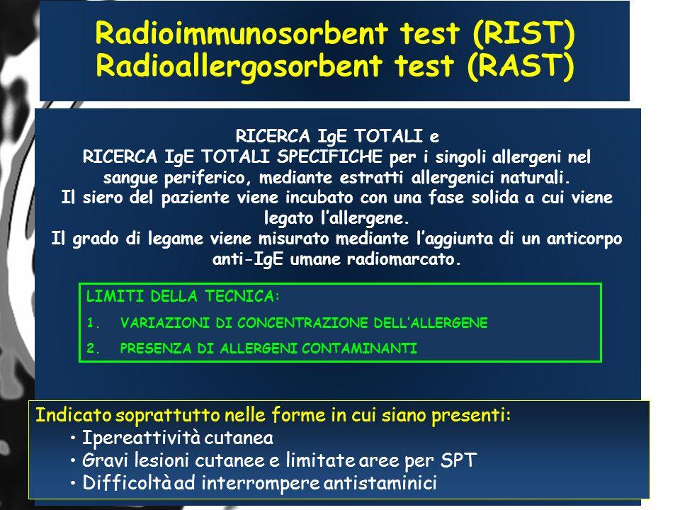 Radioimmunosorbent test (RIST) Radioallergosorbent test (RAST)