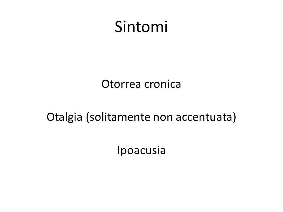 Otorrea cronica Otalgia (solitamente non accentuata) Ipoacusia