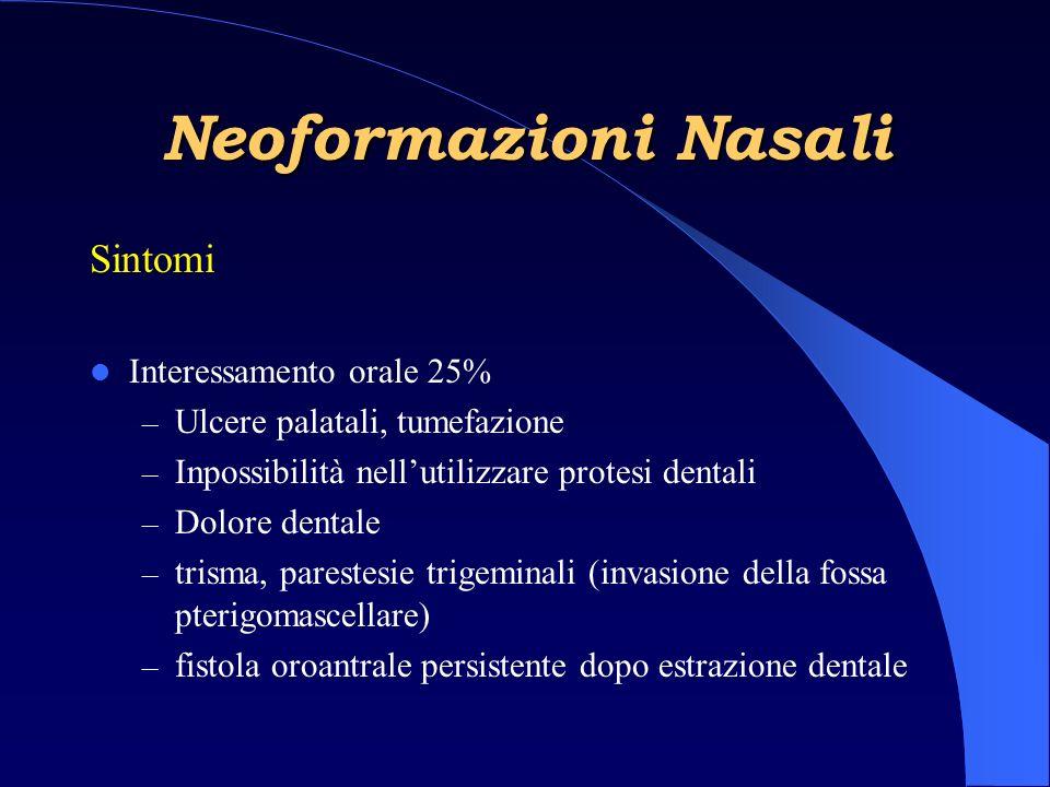 Neoformazioni Nasali Sintomi Interessamento orale 25%