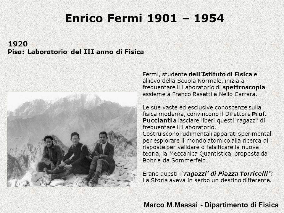 1920 Pisa: Laboratorio del III anno di Fisica