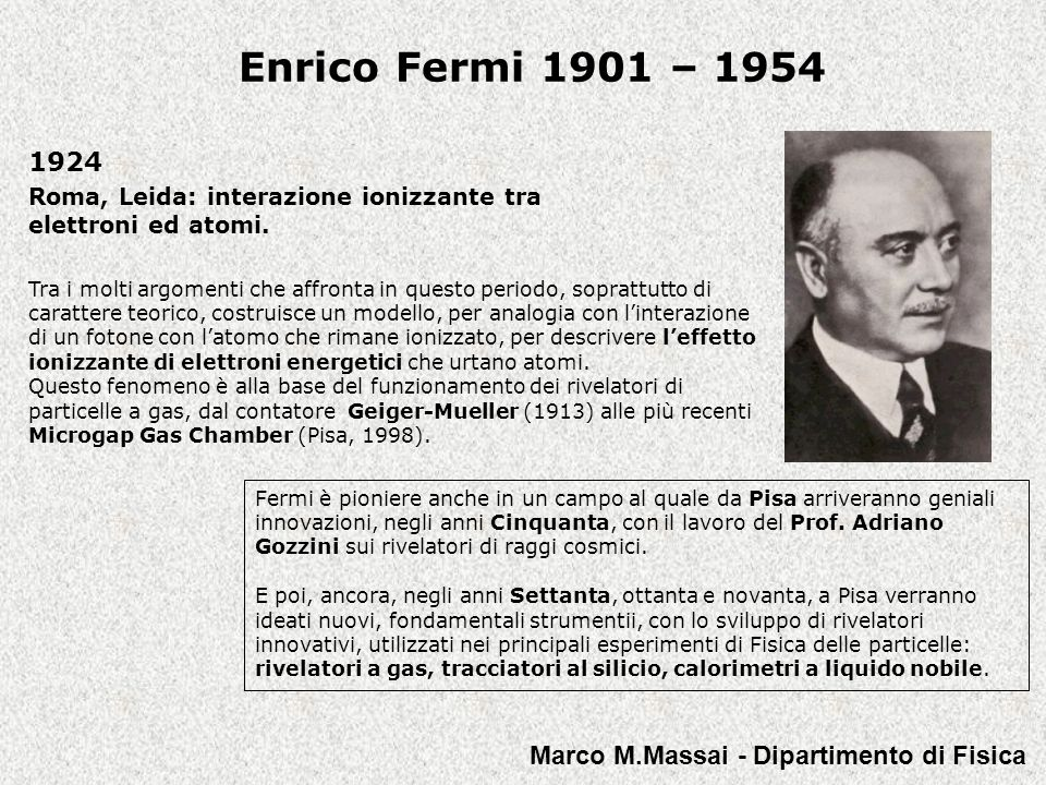 1924 Roma, Leida: interazione ionizzante tra elettroni ed atomi.